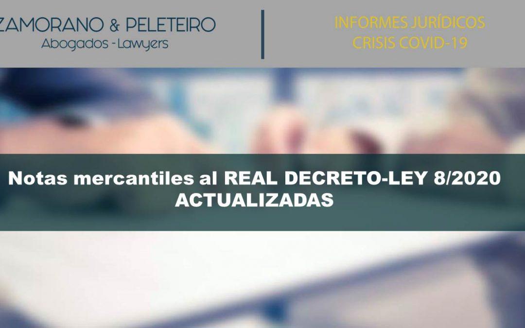 COVID-19 Notas mercantiles al REAL DECRETO-LEY 8/2020 (actualizadas)