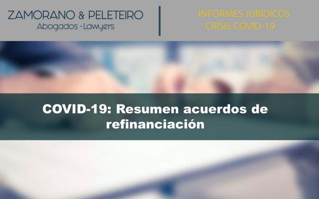 COVID-19: Resumen acuerdos de refinanciación