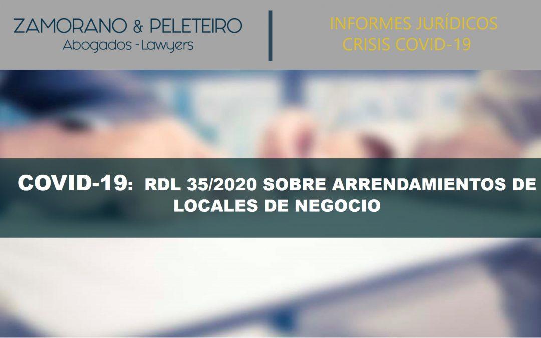 INFORME JURÍDICO DEL RDL 35/2020 SOBRE ARRENDAMIENTO DE LOCALES DE NEGOCIOS